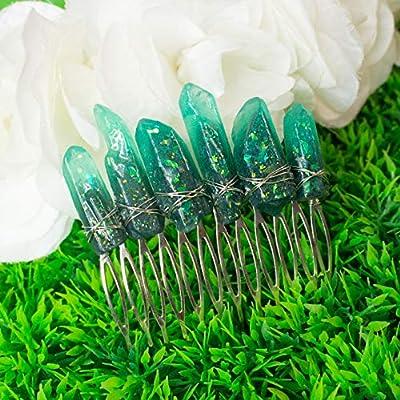 Hatol haircomb, pince à cheveux avec des cristaux de résine verte, base et fil de métal, mariage accessoire fantaisie, elfe, magie, boho