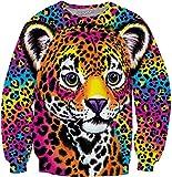 3D Sweatshirt,Digital-Druck-Paar-Baseball-Anzug-Karikatur-Netter Leopard, XL