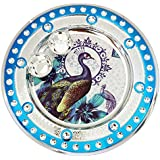 Icrafts India Diwali Blue Pooja Puja Thali Tilak Decorative Platter Set