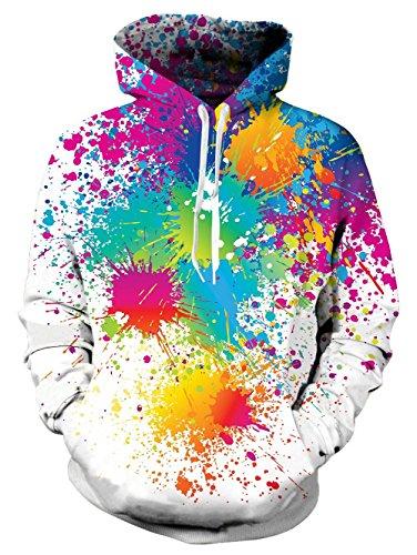 RAISEVERN Unisex Weiß Gay Pride Paint Fleece Hoodie Lässige Sportbekleidung Pullover Sweatshirts für Männer Frauen