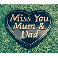 LARGE Miss You Mum & Dad - Black and Gold ENGRAVED STONE Heart Memorial Plaque