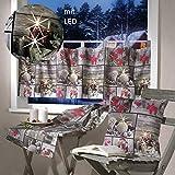 heimtexland Scheibengardine mit LED Beleuchtung flackernd 45x120 cm Weihnachtsgardine Fotodruck Patchwork Weihnachten Bistrogardine ÖKOTEX Typ498