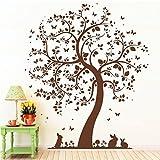 """Wandtattoo Loft """"Baum mit niedlichen Häschen"""" - Wandtattoo / 49 Farben / 4 Größen / hellbraun / 60 x 70 cm"""