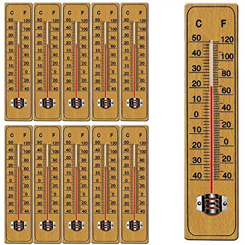 Deuba 10 x Holzthermometer Set Zimmerthermometer Wandthermometer Thermometer Temperatur Außenthermometer Gartenthermometer