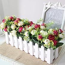 Hctina Fake flor artificial valla ramo de flores en macetas con plantas de jardín de rosas rojas