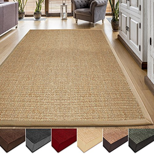 casa pura Sisal Teppich aus Naturfasern | natur | mit Bordüre aus Baumwolle | pflegeleicht | Größe wählbar (160x230 cm)