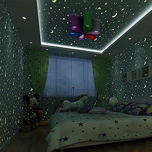 Star fluorescente wallpaper/Ragazzo bambino luminoso sfondo/bambini camere da letto carta da parati/carta da parati piscina lampada a soffitto/non-tessuto carta da parati-A