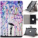 Asnlove Fire 7 2015 Hülle, Niedlich Karikatur Muster 360 Grad rotierend Ultra Lightweight Slim PU Leder Tasche Schutzhülle Schale Smart Shell Case Cover mit Standfunktion für Amazon Kindle Fire 7.0 Zoll (5. Generation - 2015 Modell) Tablet, Malerei