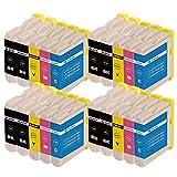 ZR-Printing 970XL Kompatibel Brother LC970 1000 Druckerpatronen mit Chip Hohe Kapazität Kompatibel für Brother DCP-130C DCP-135C DCP-150C DCP-330C MFC-235C MFC260C Drucker (8 Schwarz,4 Cyan,4 Magenta,4 Gelb)