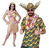 ILOVEFANCYDRESS Hawaii KAPITÄN Paare KOSTÜM Verkleidung=Hawaii Hemd -Gelb+Hut+BASTROCK-40cm Lang=Hemd- Medium + BASTROCK in Natur