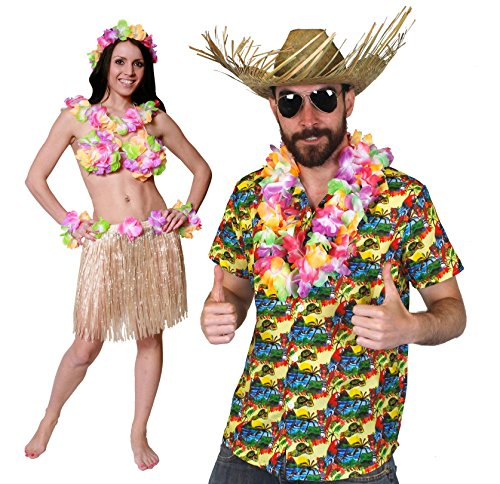Rock Roll Kostüm Paare And Für - ILOVEFANCYDRESS Hawaii KAPITÄN Paare KOSTÜM Verkleidung=Hawaii Hemd -Gelb+Hut+BASTROCK-40cm Lang=Hemd- Medium + BASTROCK in Natur