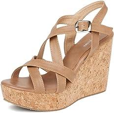 MarcLoire Women Wedge Heels, Girls Fashion Sandals, Open Toe Wedge Sandals, Buckle Type Heels - Synthetic, Tan, Size - 3UK/IND to 8UK/IND