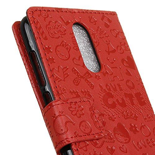 Alcatel A7 Funda Faux Cuero Billetera Funda para Alcatel A7 con Stand Funci  n Rojo