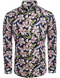 Coofandy Camisa Impresión Hombre Estampada Floral Manga Larga Vestir Casual