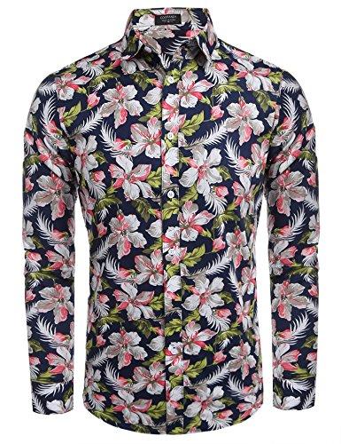 Coofandy camicia hawaiana da uomo manica lunga estampa floreale casual estiva blu navy xxl