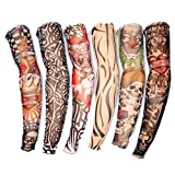 Da.Wa 6X Rock Fake Novelty Tattoo Arms/Legs Stockings Sleeves 45cm,Fancy Dress Costume