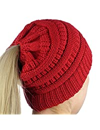 iParaAiluRy Mujer Gorros con Coleta - Caliente Gorro de Punto de Invierno y  el Agujero - Sombreros de Invierno Knit… 7512a6974e6