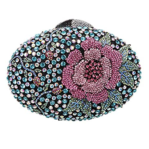 Bonjanvye Glitter Flower Clutch Purses Rhinestones and Handbags for Girls Mint