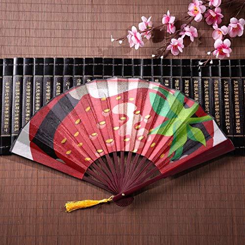 Womens Folding Hand Fan weibliche sexy rote Lippen mit einer saftigen Erdbeere mit Bambusrahmen Quaste Anhänger und Stoffbeutel Hände Fans für Frauen Folding Papier Fans Handheld chinesischen Fans fü