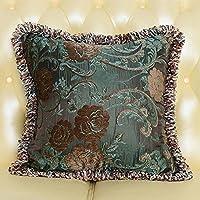 MeMoreCool stile palazzo Exquisite Jacquard Throw Pillow federa, elegante con frange bordo Decor, Home Decor Divano Cuscino Cover, Cotone, color5, 18 inch by 18 inch