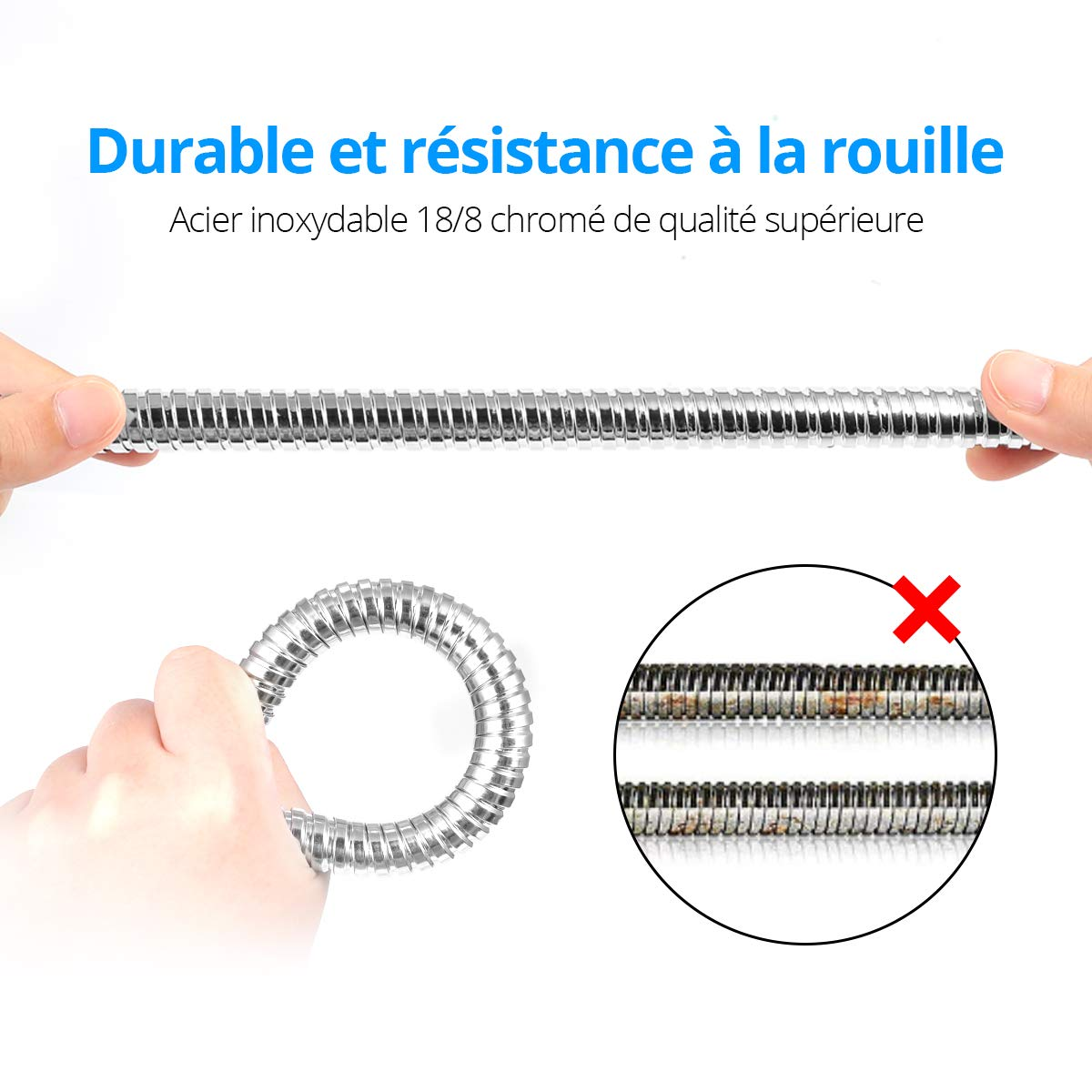 Chrome Flexible Tuyau de Douche Universel Extensible ACGAM Tuyau de Douche 2M