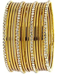 The Jewelbox Wedding Bridal 22K Antique Gold Plated American Diamond Slim Bangle Set Of 16 For Women
