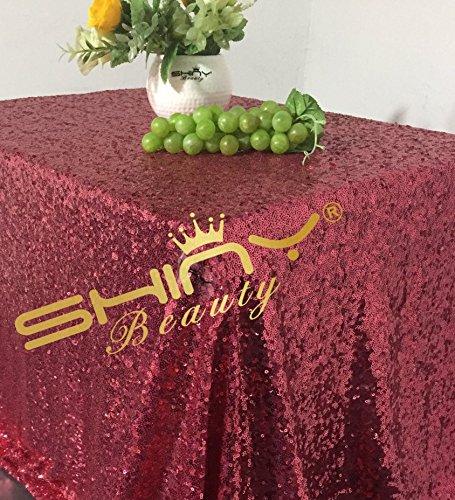 DuoBao Hot Pink Tischdecke Great Gatsby Dekorationen Tisch Kleidung 90x 156-inch Hot Pink Tischdecke/Rund Pailletten Tischdecke
