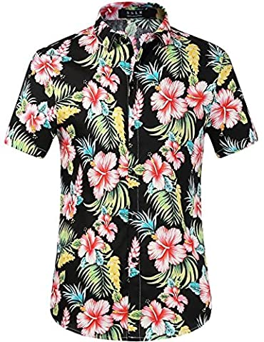 SSLR Men's Flower Casual Button Down Short Sleeve Shirt (Large, Red Hibiscus)