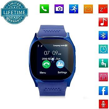 KeepGoo Bluetooth Reloj Inteligente Android iOS Teléfono, Pantalla táctil Smartwatch Soporte SIM/TF Reloj