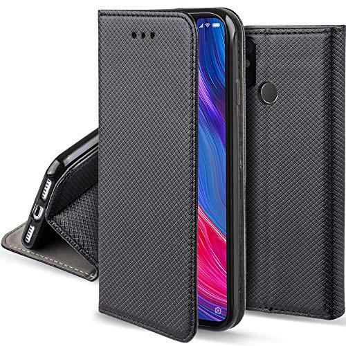 Moozy Funda para Xiaomi Mi 8, Negra - Flip Cover Smart Magnética con Stand Plegable y Soporte de Silicona