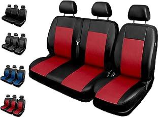 Sitzbezüge Auto 1+2 Transporter Universal Autositzbezüge Schonbezüge Vorne mit Airbag System Comfort - Rot
