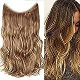 Extension Cheveux Fil Invisible Rajout Pour Cheveux Ondulé - 20'/50CM [ Marron Clair Mèche Ash Blond ] Effet Naturel