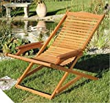 Outdoor Deck Chairs Set Of 2 Made Of Acacia Hardwood - Designed to Mould to Contours of the Body For Ultimate Comfort & They Are Also Fully Collapsible - Perfect Set To Relax In Your Garden