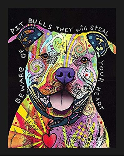 Dean Russo Kunstdruck, Motiv Beware of Pit Bulls They Will Steal Your Heart by Dean Russo, 35,6 x 27,9 cm, Bunte Collage