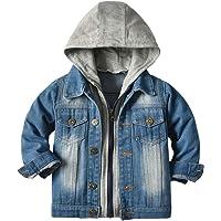 IMEKIS Manteau en jean pour bébé fille - Printemps automne - Motif floral brodé - Veste d'extérieur à capuche - Manches…