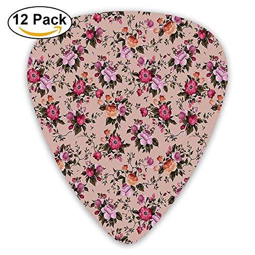 Blumenmuster Mit Rosen Zweig Warme Farben Blumenarrangement Blumensträuße Plektren 12 Pack Für E-Gitarre, Akustikgitarre, Mandoline und Bass