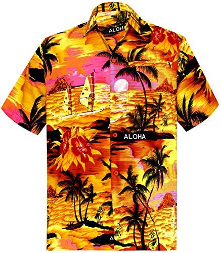 La-Leela-Shirt-Camisa-Hawaiana-Hombre-XS-5XL-Manga-Corta-Delante-de-Bolsillo-Impresin-Hawaiana-Casual-Regular-Fit-Camisa-de-Hawaii-Naranja-1896-S