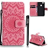 Huawei P10 Lite Hülle Leder,Huawei P10 Lite Flip Case Magnet,BtDuck Blume Dünn Tasche Brieftasche Ledertasche Kartenfach Stand Silikon Schutzhülle für Huawei P10 Lite Wallet beutel - Rosa