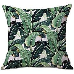 CAOLATOR Baumwolle Kissenbezüge Tropische Pflanzen Blätter Dekorative Setzen Fall Sofa Kissenbezug 45 * 45cm