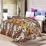shinemoon Home Bettwäsche Kollektion Warm Weich Muster Leopard Plüsch Fleece Überwürfe für Bett und Sofas Haustier Hund Katze Bettwäsche Decke, 100 % Polyester, leopard, 200x230cm