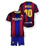 Tricot en broek Replica FC. Barcelona 1. EQ seizoen 2020-21, gelicentieerd product, Dorsal 10 Messi, 100% polyester, kinderma