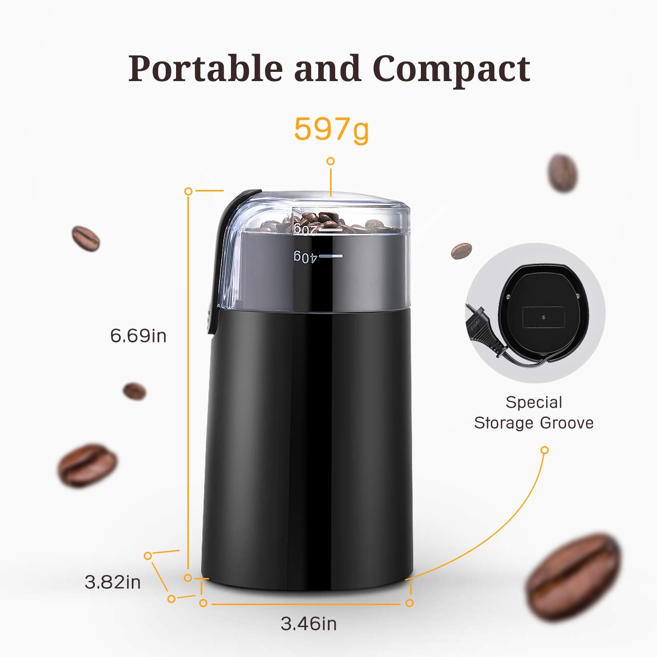 Coffee-Grinder-IKICH-Electric-Coffee-Bean-Grinder-Mill-Grinder-with-Noiseless-Motor-Stainless-Steel-Blade-One-Touch-Design-for-Home-and-Office-Portable-Use-Also-for-Spices-Pepper