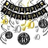 Konsait 40. Geburtstag Dekoration Set, Cheers Zum 40. Geburtstag Girlande Banner Folie Spirale Deckenhänger, Perfekte Männer und Frauen 40. Geburtstags Jahrestags Party Dekorationen Partyzubehör