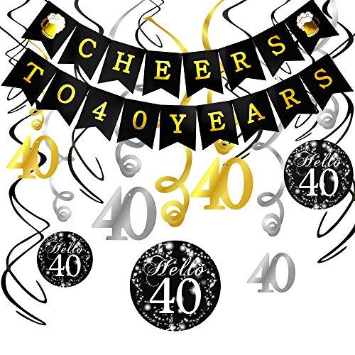 Dekoration Set, Cheers zum 40. Geburtstag Girlande Banner Folie Spirale Deckenhänger, perfekte Männer und Frauen 40. Geburtstags Jahrestags Party Dekorationen Partyzubehör ()