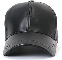 HOZIE Classic Black Plain Leather Baseball Cap