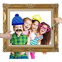 Veewon 24pcs partito Photo Booth puntelli con la carta antica Baffi frame, Occhiali, Labbra, papillon, cappelli e un Imperial Crown fai da te divertente per il partito, la cerimonia nuziale, compleanno, laurea