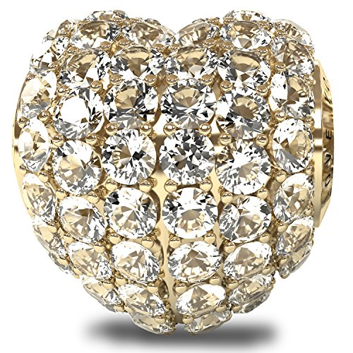 I love you always the royal collection - lussuosi e stupendi charm in robusto argento sterling 925 placcato oro bianco 18k con zirconia cubica. compatibili con i braccialetti pandora o simili da 5 mm