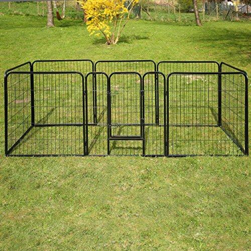 TRESKO® Welpenlaufstall Freilaufgehege Welpenauslauf Hundelaufstall Tierlaufstall Hunde, mit Tür und wetterfester Hammerschlag-Lackierung - 6