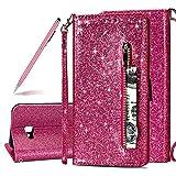 SKYXD Glitter Reißverschluss Brieftasche Hülle für Samsung Galaxy J4 Plus, Stilvoll Luxus Bling Strass Wallet Stoßdämpfende Multifunktion Magnetisch Etui für Samsung Galaxy J4 Plus(Rose Rot)