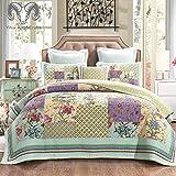 GJXY Soffitto Moderna Patchwork Rurale re Bedding Set, Cotone Traspirante, Disegno Floreale Handmade Solido, copriletto Trapuntato con federe,260 * 270cm